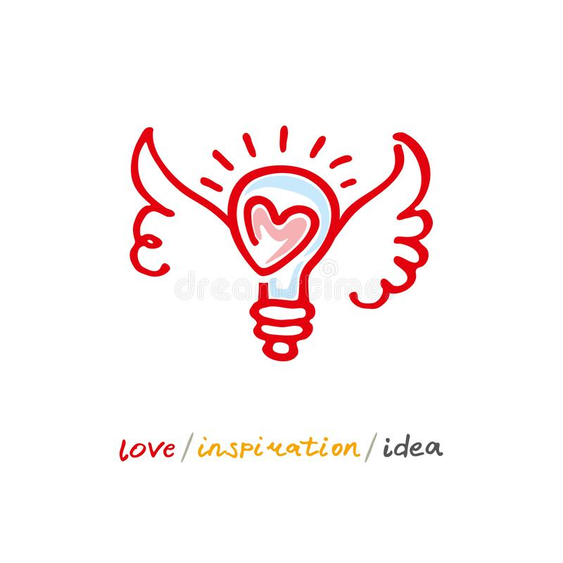 Love. Inspiration. Idea. Hand drawn positive logo. Line art wings and heart light bulb. vector illustration