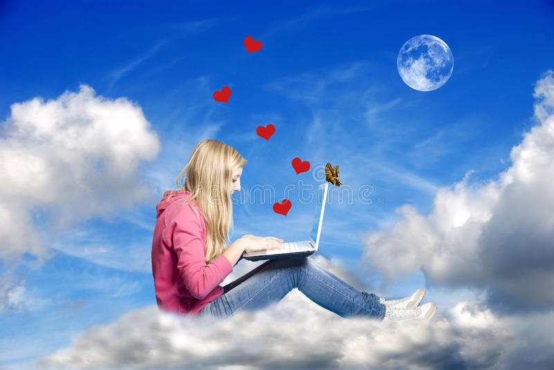 Download Love in internet era stock image. Image of chatting, connected - 25077491