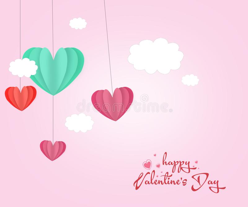Love Invitation card Valentine`s day abstract background with text love and clouds,paper cut mini heart. Vector illustration vector illustration