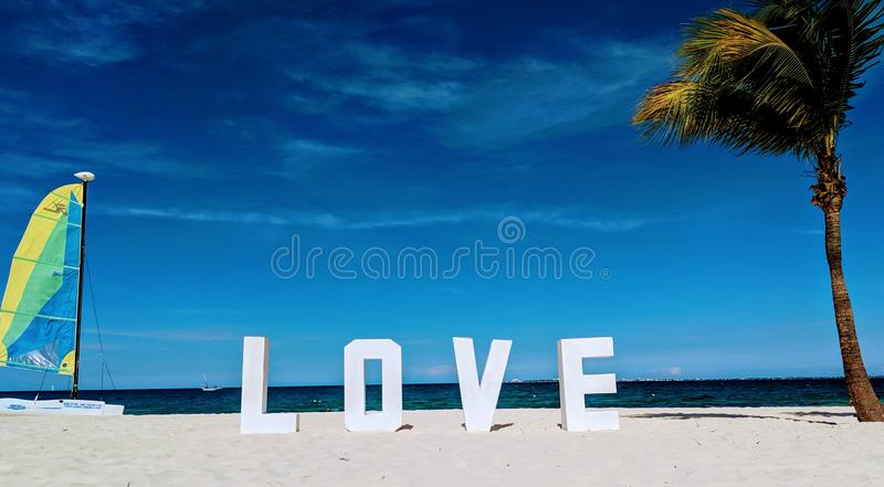 Love Island with sun sea and beach royalty free stock photography