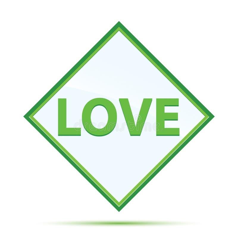 Love modern abstract green diamond button. Love Isolated on modern abstract green diamond button stock illustration