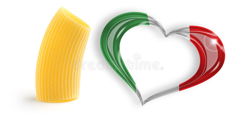 Love for Italian cooking. One macaroni and heart with italian flag colors stock illustration