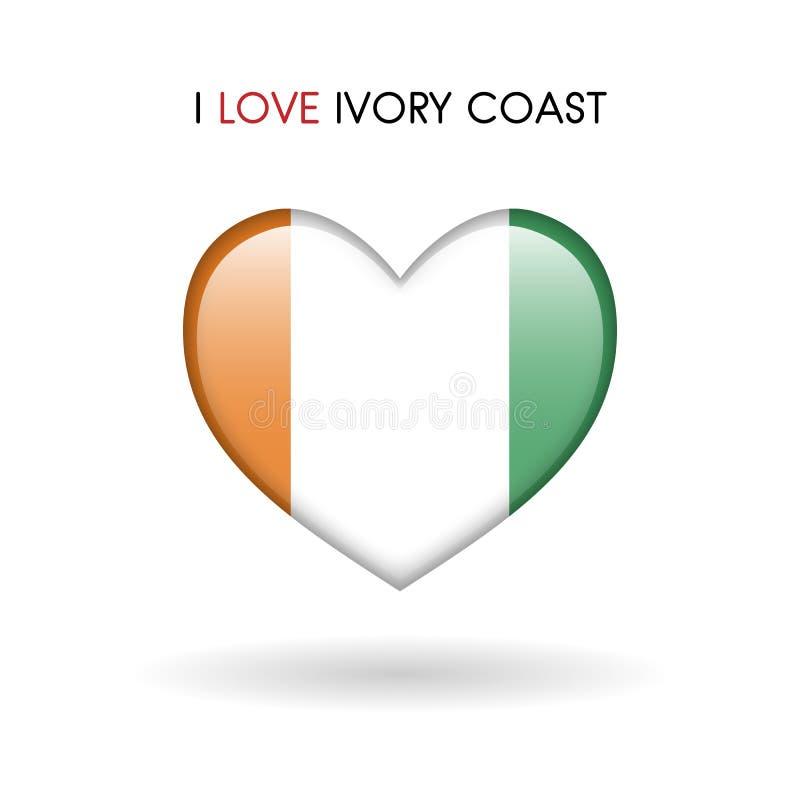 Love Ivory Coast symbol. Flag Heart Glossy icon on a white background stock image