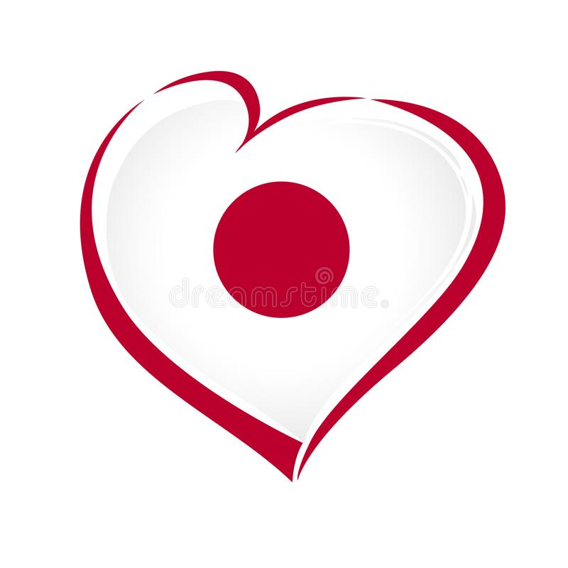 Free Love Japan Emblem With Heart In National Flag Color Stock Images - 120334024