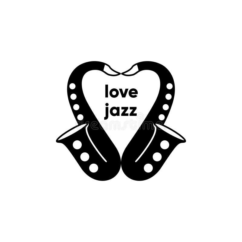 Love jazz logo saxophone vector illustration vector illustration