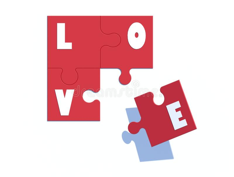 Love jig saw. 3d image Love jigsaw.on top view royalty free illustration