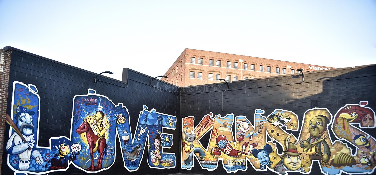 Love for Kansas Mural. Kansas is a U.S. state in the Midwestern United States. Its capital is Topeka and its largest city is Wichita, with its most populated royalty free stock photo