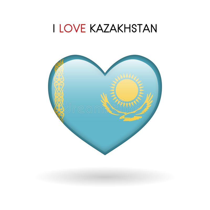 Love Kazakhstan symbol. Flag Heart Glossy icon on a white background royalty free stock images