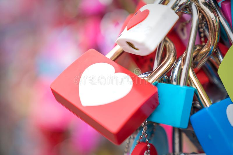 The Love Key Ceremony at N Seoul Tower in Seoul City, Korea. Located on Namsan Mountain in the center of Seoul City. stock image