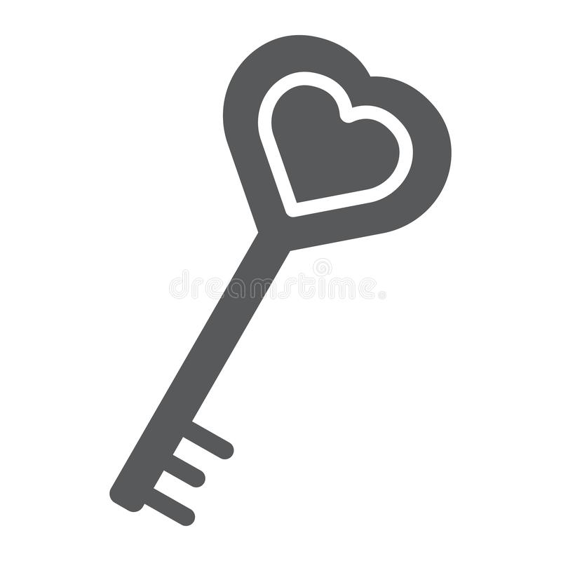 Love key glyph icon, love and lock, heart key sign, vector graphics, a solid pattern on a white background. stock illustration