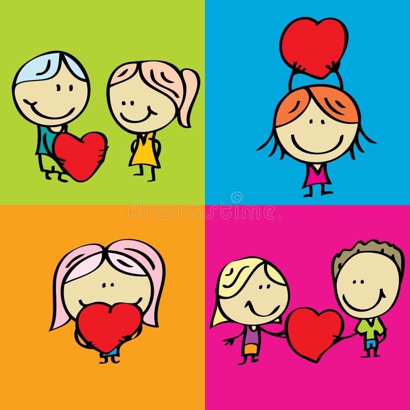 Love kids. Set of doodle happy children with love valentine hearts vector illustration