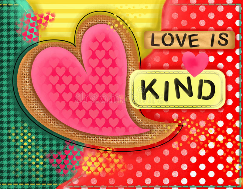 Love is Kind Heart Collage royalty free illustration