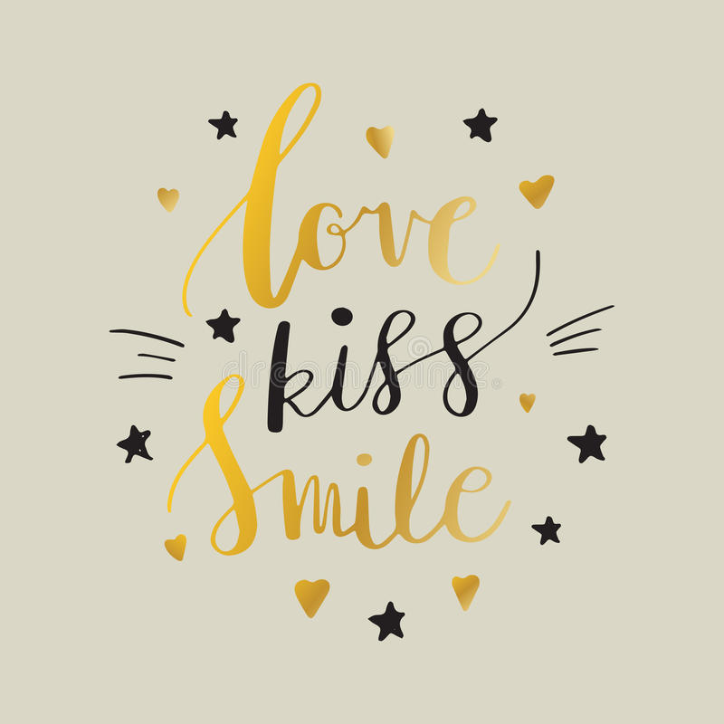 Love Kiss Smile Decorative letters, hearts and stars. Hand drawn lettering inspiration quote. inscription. Font, motivational post. Love Kiss Smile Decorative royalty free illustration