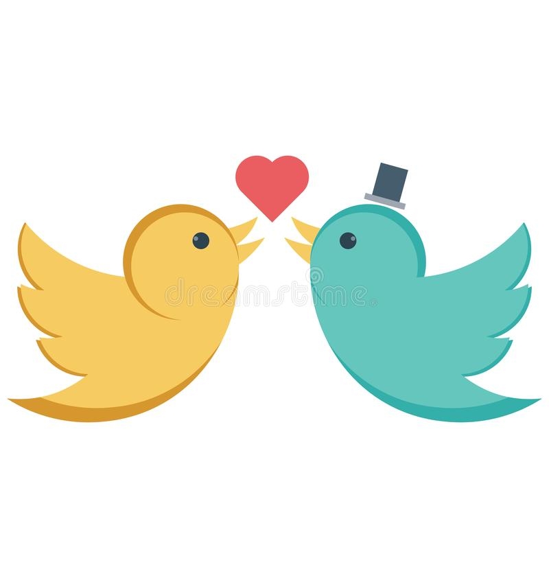 In love, kissing birds Vector Icon editable stock illustration