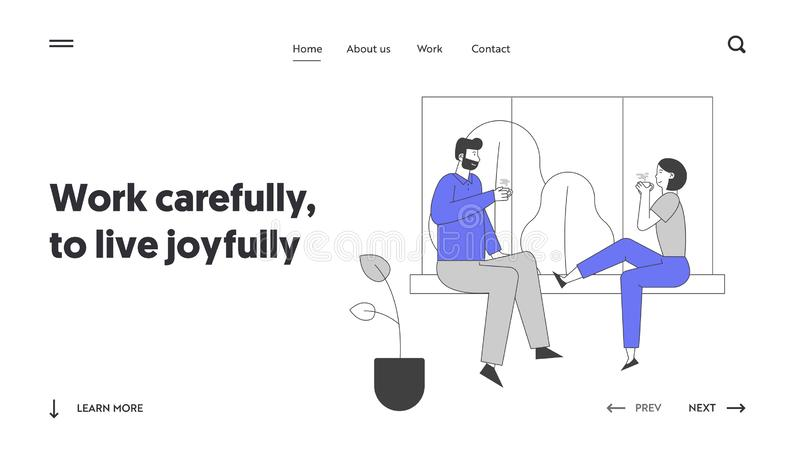 Love Leisure Family Sparetime Day Off Website Landing Page. Young Loving Couple Sitting on Windowsill Drinking Tea vector illustration