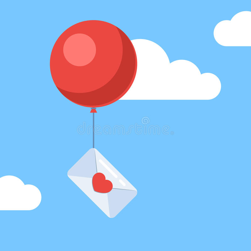 Love letter with balloon royalty free illustration