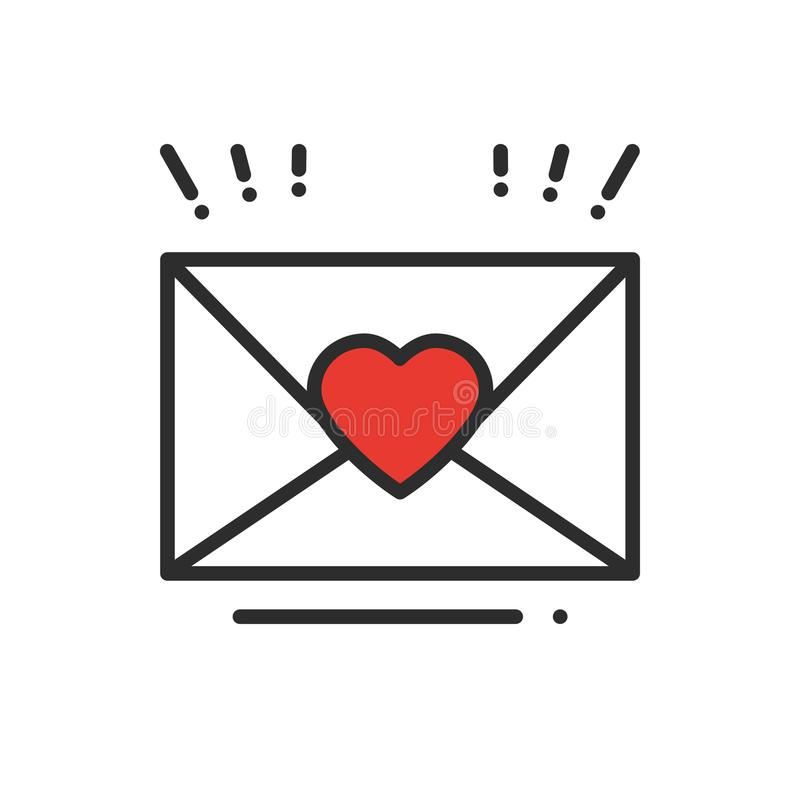 Love letter envelope line icon. Happy Valentine day sign and symbol. Heart shape. Love, couple, relationship, dating stock illustration