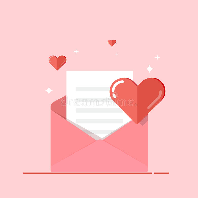 Love letter, greeting card, invitation isolated on pink background. Valentine s day. Vector, flat illustration EPS10. vector illustration