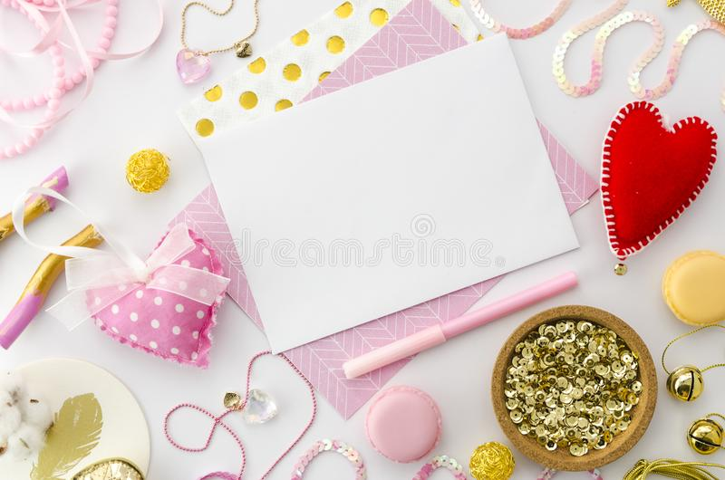 Download Love Letter Mock Up For Valentines Day On Pink Background.  Valentine Template Mockup.