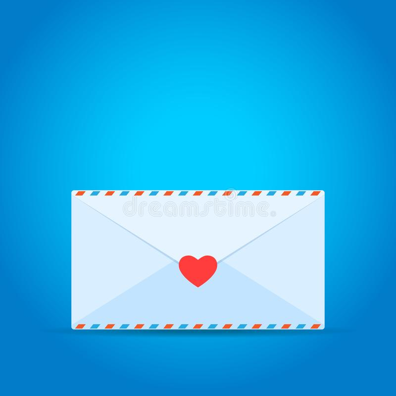 Love letter with pink heart sign. Isolated Vector Illustration.  royalty free illustration