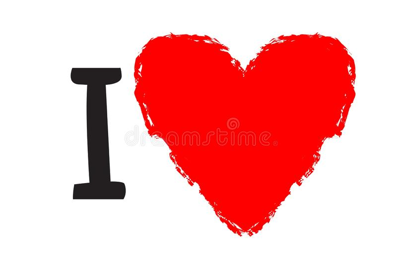 Love letter with red heart on white background. Illustration design royalty free stock image