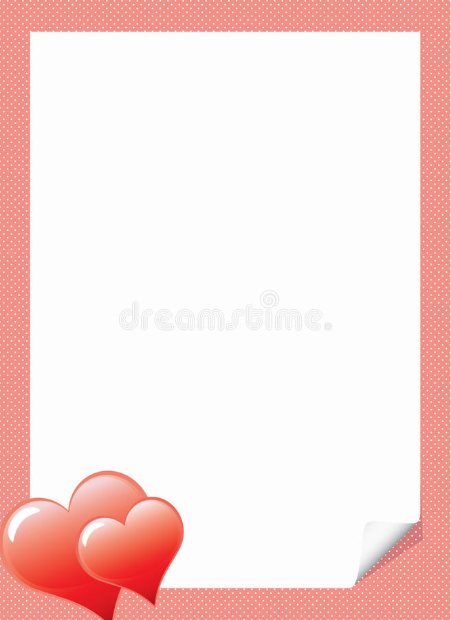 Love Letter Template With Hearts Stock Vector - Illustration of ...