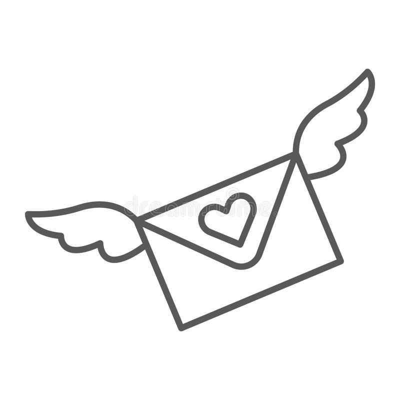 Love letter thin line icon, message and envelope, love email sign, vector graphics, a linear pattern on a white vector illustration