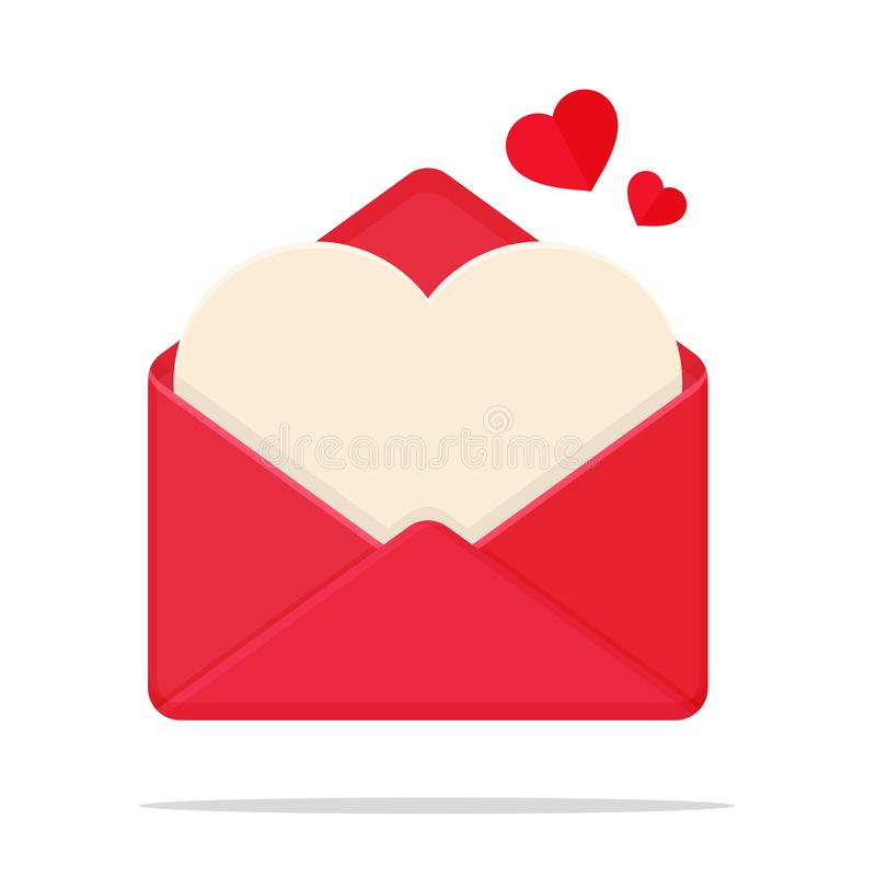 Love Letter Vector. Heart shaped letter For writing in your heart to send to your lover during Valentine's Day stock illustration
