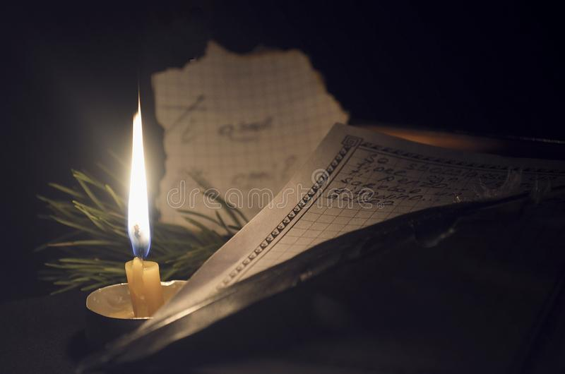 The letter is written in pen on the candle stock photos