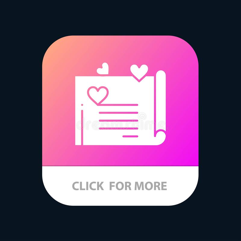 Love Letter, Wedding Card, Couple Proposal, Love Mobile App Button. Android and IOS Glyph Version stock illustration