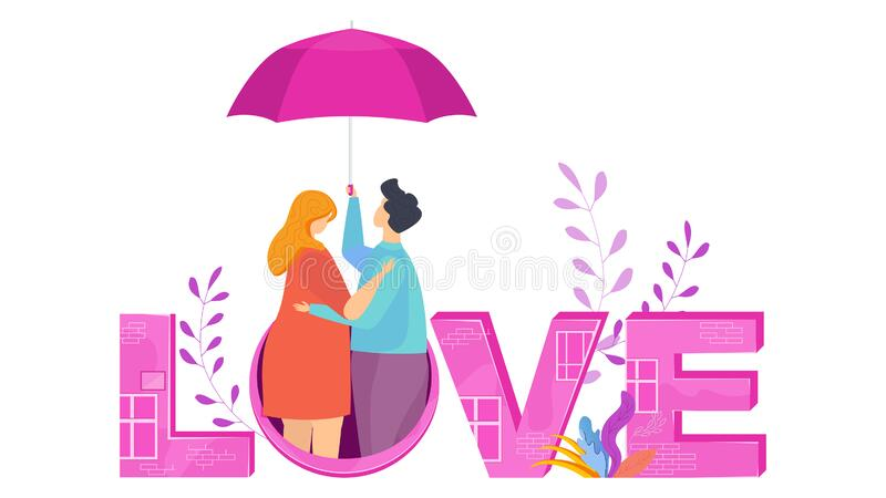 Love lettering. Hugging couple in love under an umbrella. stock photography