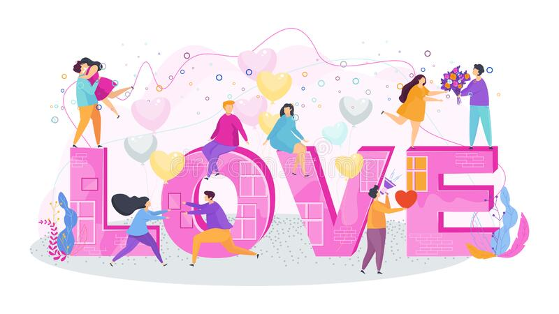 Love lettering. Hugging couples in love. royalty free stock photography