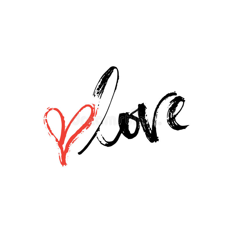 Love - lettering Valentines Day calligraphy phrase isolated on the background. royalty free stock photos