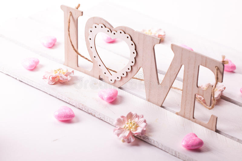 Love letters on wooden background. St Valentines day conception stock photography