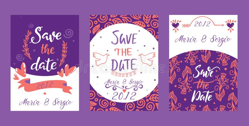 Love lettring Sav e the Date vector lovely calligraphy lovable sign sketch iloveyou on Valentines day beloved card. Illustration backdrop set of love decor vector illustration