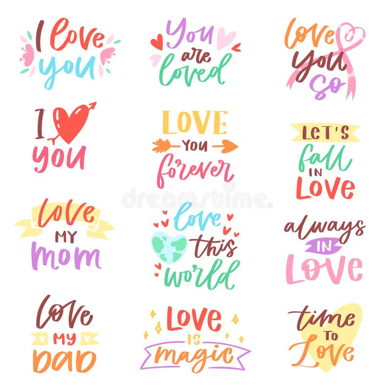 Love lettring vector lovely calligraphy lovable friendship sign to mom dad friend iloveyou on Valentines day beloved. Card illustration set of family love decor stock illustration
