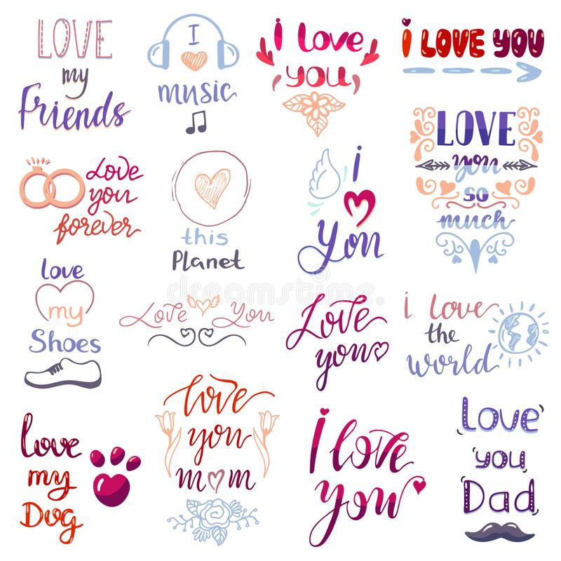 Love lettring vector lovely calligraphy lovable friendship sign to mom dad friend iloveyou on Valentines day beloved. Card illustration set of family love decor vector illustration