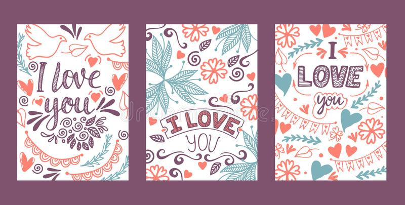 Love lettring vector lovely calligraphy lovable sign sketch iloveyou on Valentines day beloved card illustration. Backdrop set of love decor typography vector illustration