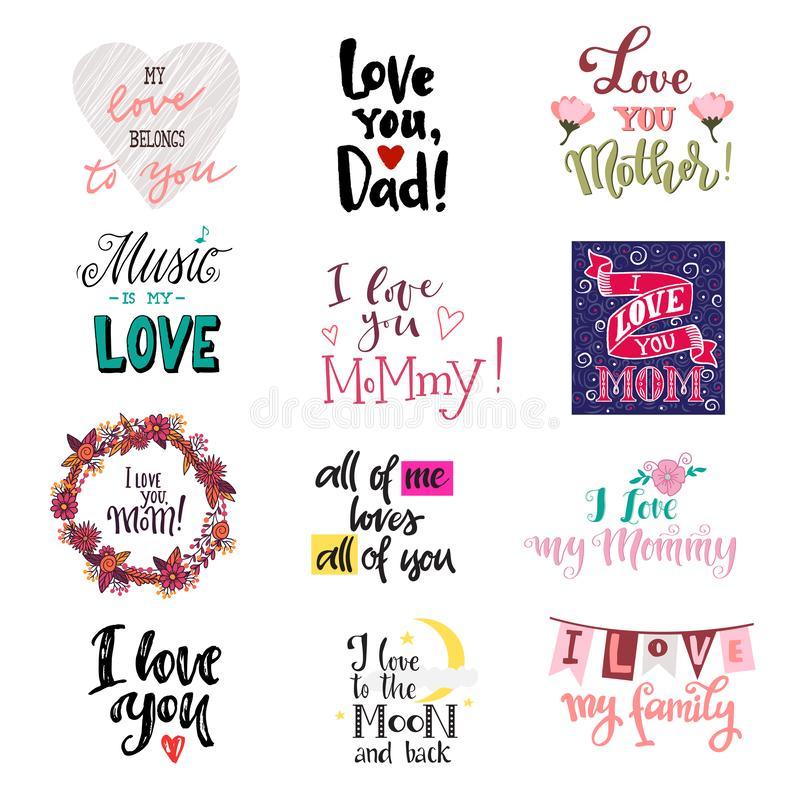 Love lettring vector lovely calligraphy lovable sign to mom dad iloveyou on Valentines day beloved card illustration set. Of family love decor typography royalty free illustration