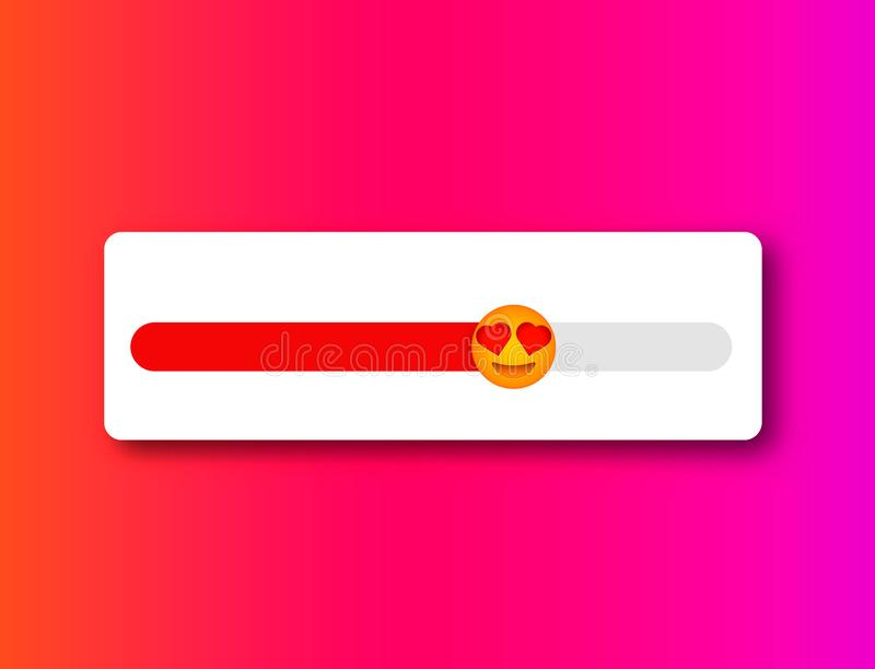 Love level slider . Feedback emotions poll. Stories social activity scale royalty free illustration