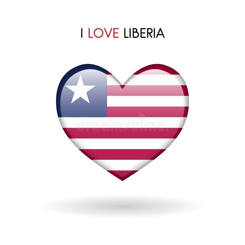 Love Liberia symbol. Flag Heart Glossy icon on a white background stock photos
