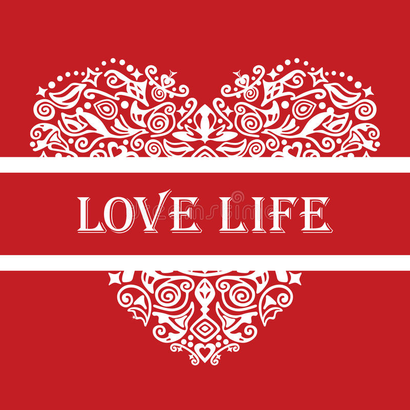 Download Love Life White Detailed Heart Ornament On Red Stock Vector - Image: 28274088
