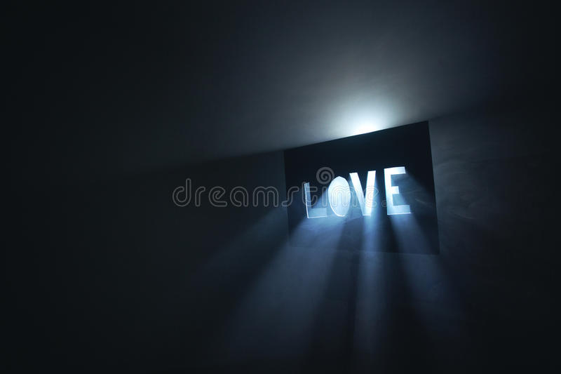 Love light beams. Love with light beams in fog stock photo