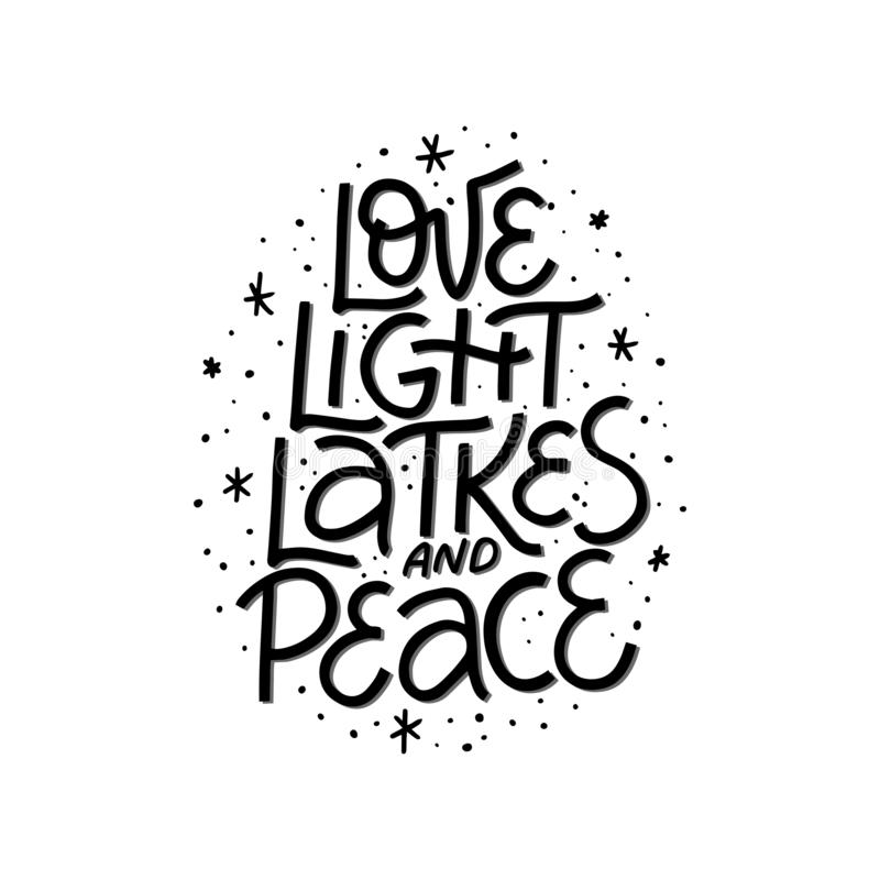 Free Love, Light, Latkes And Peace Handwritten Black Vector Lettering Royalty Free Stock Photo - 163100315