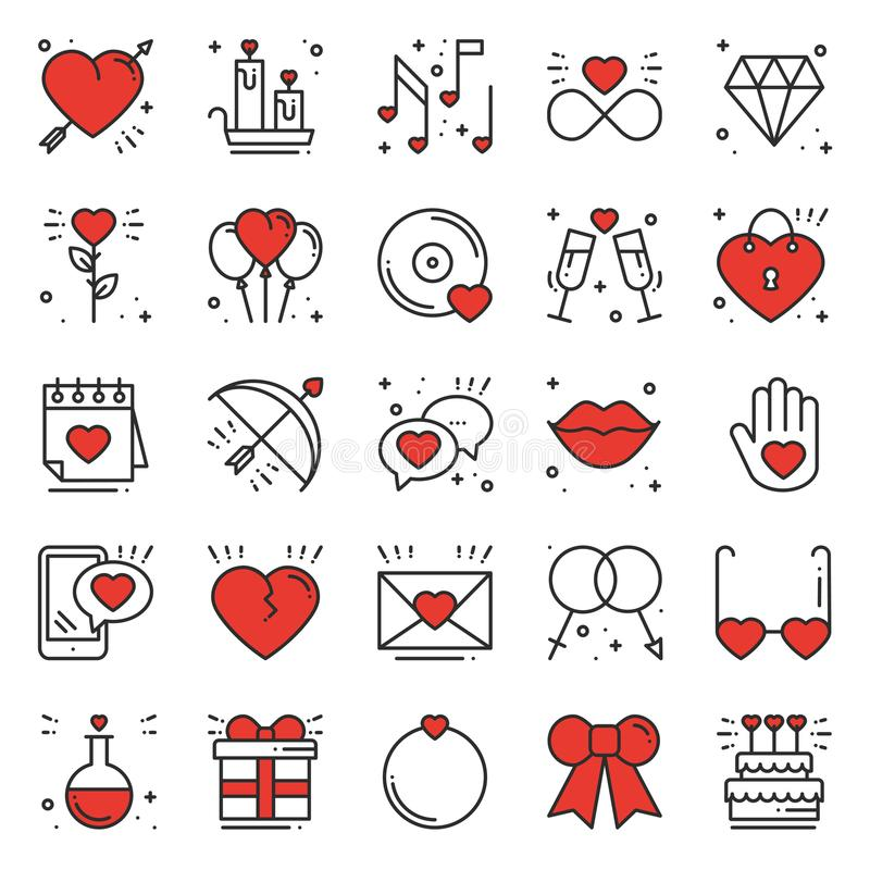 Love line icons set. Happy Valentine day signs and symbols. Love, couple, relationship, dating, wedding, holiday. Romantic amour theme. Heart lips gift stock illustration