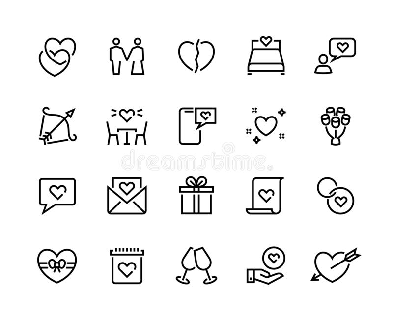 Love line icons. Volunteer charity friendship and solidarity outline pictograms, charity handshake and respect vector. Symbols. Loving woman with crushed heart stock illustration