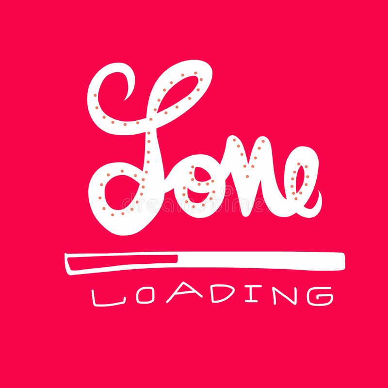 Love loading word vector illustration on red background. Love loading white word vector illustration on red background royalty free illustration