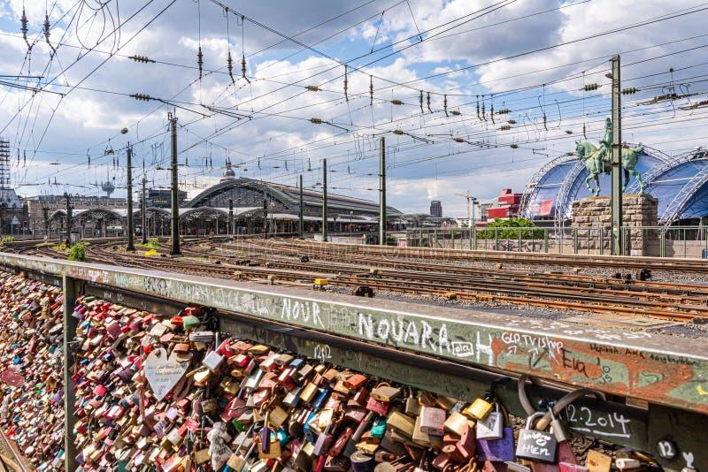 Love lock bridge in Cologne royalty free stock photo