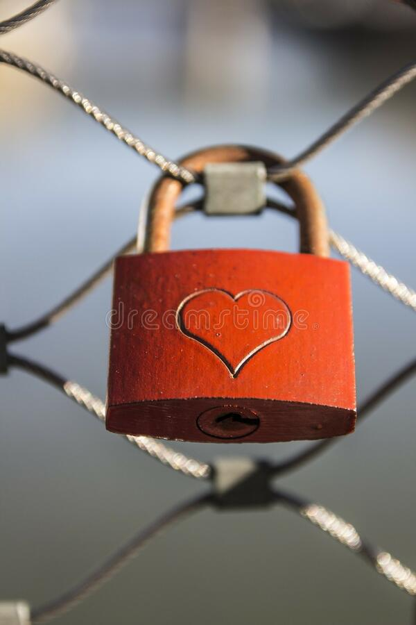 Love lock on fence royalty free stock photo