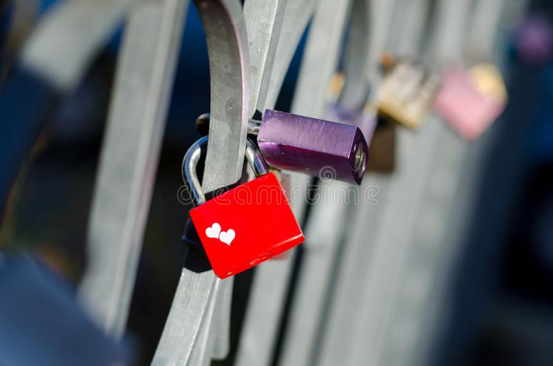 Love lock on the fence.  royalty free stock photos